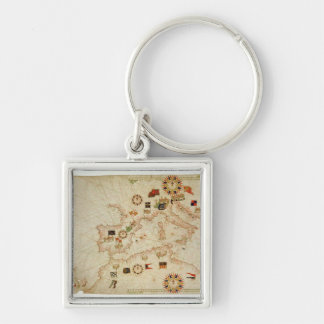 Miniature Nautical Map of the Central Mediterranea Keychain