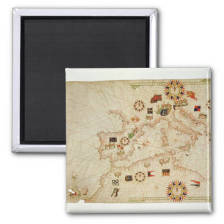 Miniature Nautical Map of the Central Mediterranea Magnets