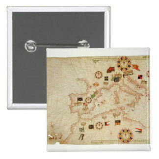 Miniature Nautical Map of the Central Mediterranea Pinback Button