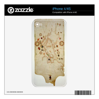 Miniature Nautical Map of the Central Mediterranea Skins For The iPhone 4S