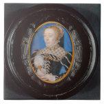 Miniature of Catherine de Medici, c.1555 (w/c on v Ceramic Tile