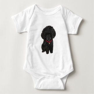 Miniature or Toy Poodle - Black 1 Baby Bodysuit