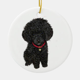 Miniature or Toy Poodle - Black 1 Double-Sided Ceramic Round Christmas Ornament