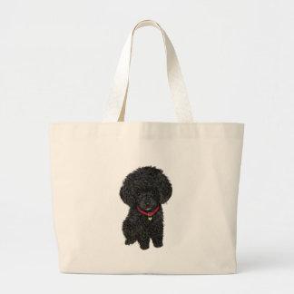 Miniature or Toy Poodle - Black 1 Large Tote Bag