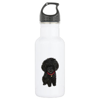 Miniature or Toy Poodle - Black 1 Water Bottle