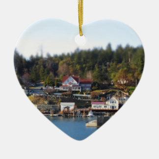 Miniature Orcas Double-Sided Heart Ceramic Christmas Ornament