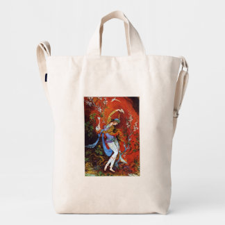 Miniature Painting of a Persian nymph Duck Canvas Bag