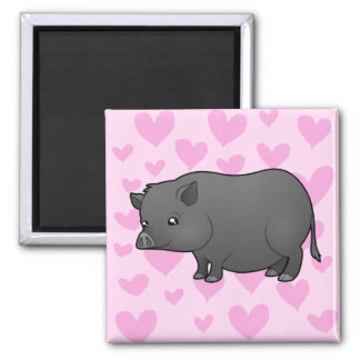 Miniature Pig Love 2 Inch Square Magnet