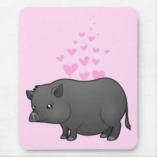 Miniature Pig Love Mouse Pad