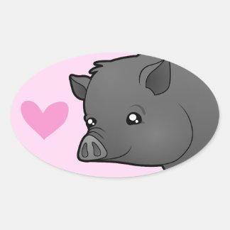 Miniature Pig Love Oval Sticker