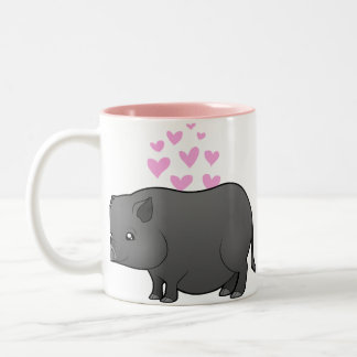 Miniature Pig Love Two-Tone Coffee Mug