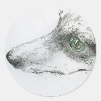 Miniature pin shear drawing classic round sticker