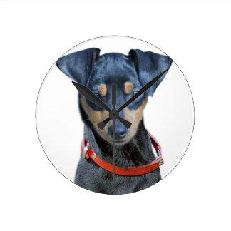 Miniature Pinscher Black Puppy Wall Clock