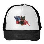 Miniature Pinscher (blk) Flag Mesh Hat