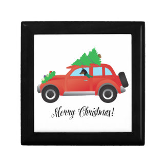 Miniature Pinscher Christmas Car Gift Box