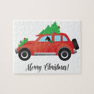 Miniature Pinscher Christmas Car Jigsaw Puzzle