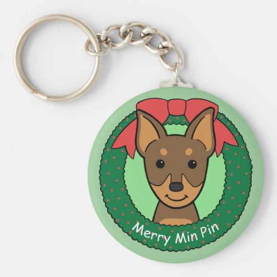 Miniature Pinscher Christmas Keychain