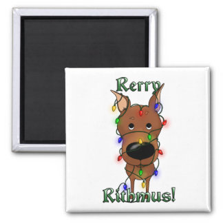 Miniature Pinscher Christmas Lights 2 Inch Square Magnet