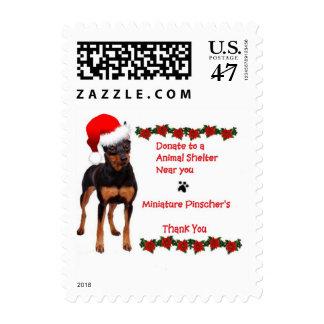 Miniature Pinscher Christmas Postage