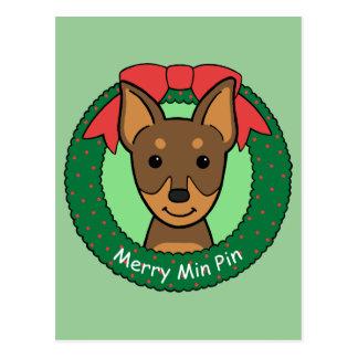 Miniature Pinscher Christmas Postcard