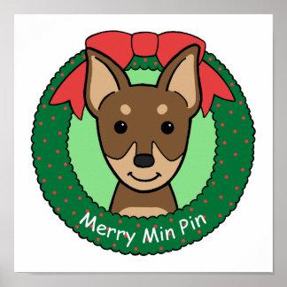 Miniature Pinscher Christmas Poster
