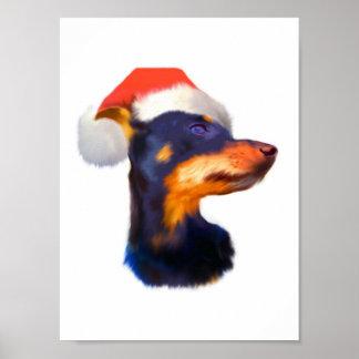 Miniature Pinscher Christmas Poster Print
