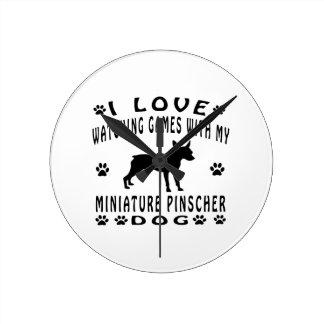 Miniature Pinscher designs Round Wall Clock