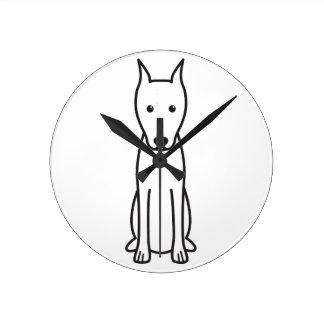Miniature Pinscher Dog Cartoon Round Wall Clocks