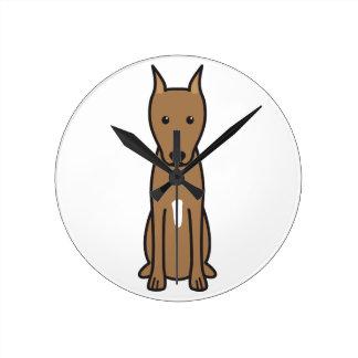 Miniature Pinscher Dog Cartoon Round Clocks