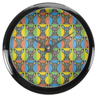 Miniature Pinscher Dog Cartoon Pop-Art Aquarium Clocks