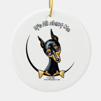 Miniature Pinscher IAAM Double-Sided Ceramic Round Christmas Ornament