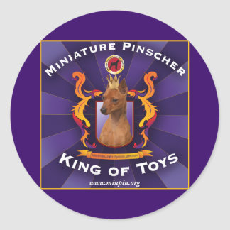 Miniature Pinscher, King of Toys Classic Round Sticker