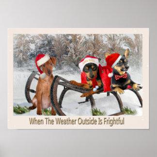 Miniature Pinscher Let It Snow Poster