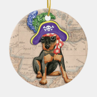 Miniature Pinscher Pirate Ceramic Ornament