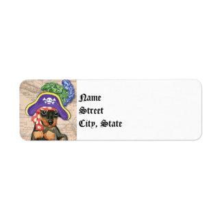 Miniature Pinscher Pirate Return Address Label