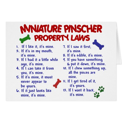 Miniature Pinscher Property Laws 2 Greeting Cards