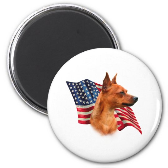 Miniature Pinscher (red) Flag Magnet