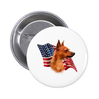 Miniature Pinscher (red) Flag Pinback Button