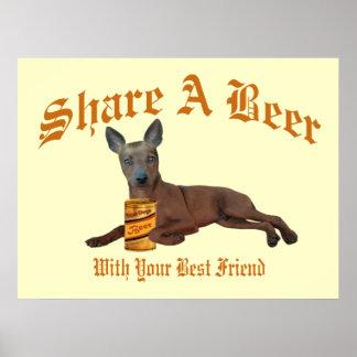 Miniature Pinscher Share A Beer Poster