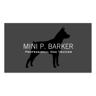 Miniature Pinscher Silhouette Black on Grey Business Cards