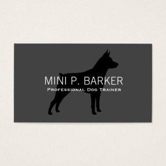Miniature Pinscher Silhouette Black on Grey Business Card