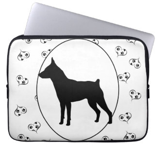 Miniature Pinscher Silhouette Hearts Paw Prints Laptop Computer Sleeve