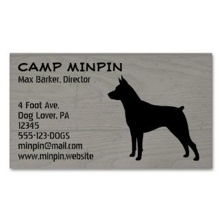 Miniature Pinscher Silhouette Wood Style Business Card Magnet