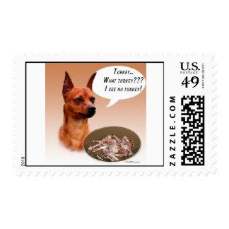 Miniature Pinscher Turkey Stamp