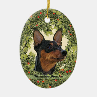 Miniature Pinscher Wreath Double-Sided Oval Ceramic Christmas Ornament