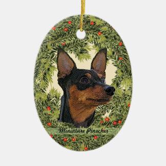 Miniature Pinscher Wreath Christmas Ornaments