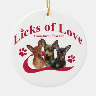 Miniature Pinschers Licks of Love Christmas Ornament