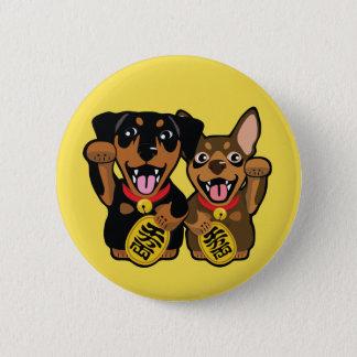 Miniature Pinschers Min Pin Lucky Dog Round Button