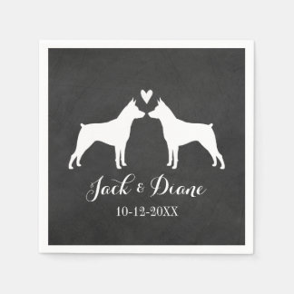 Miniature Pinschers Wedding Couple with Text Paper Napkin