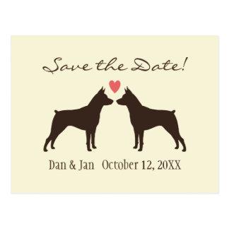 Miniature Pinschers Wedding Save the Date Postcard